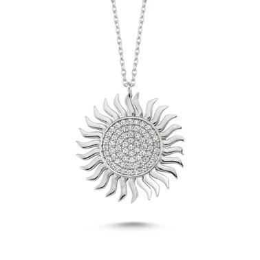 Online Takı Gümüş Güneş Kolye Renkli